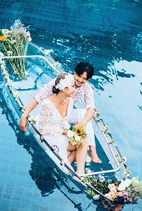 婚纱照 水晶船
