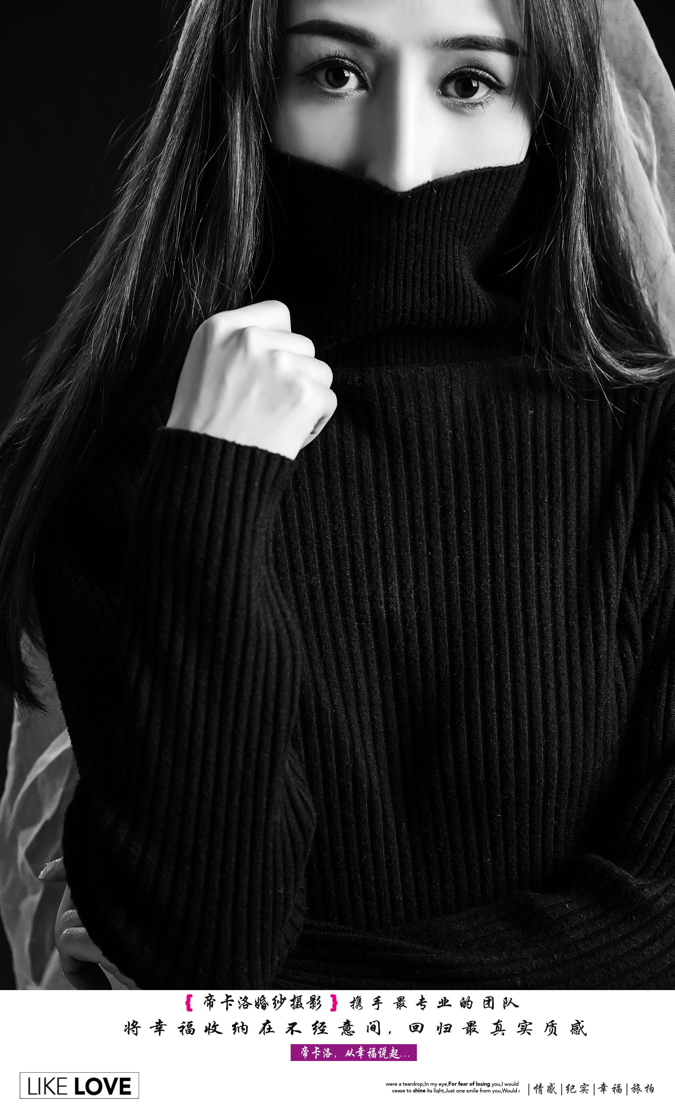 黑毛衣搭配白纱巾写真